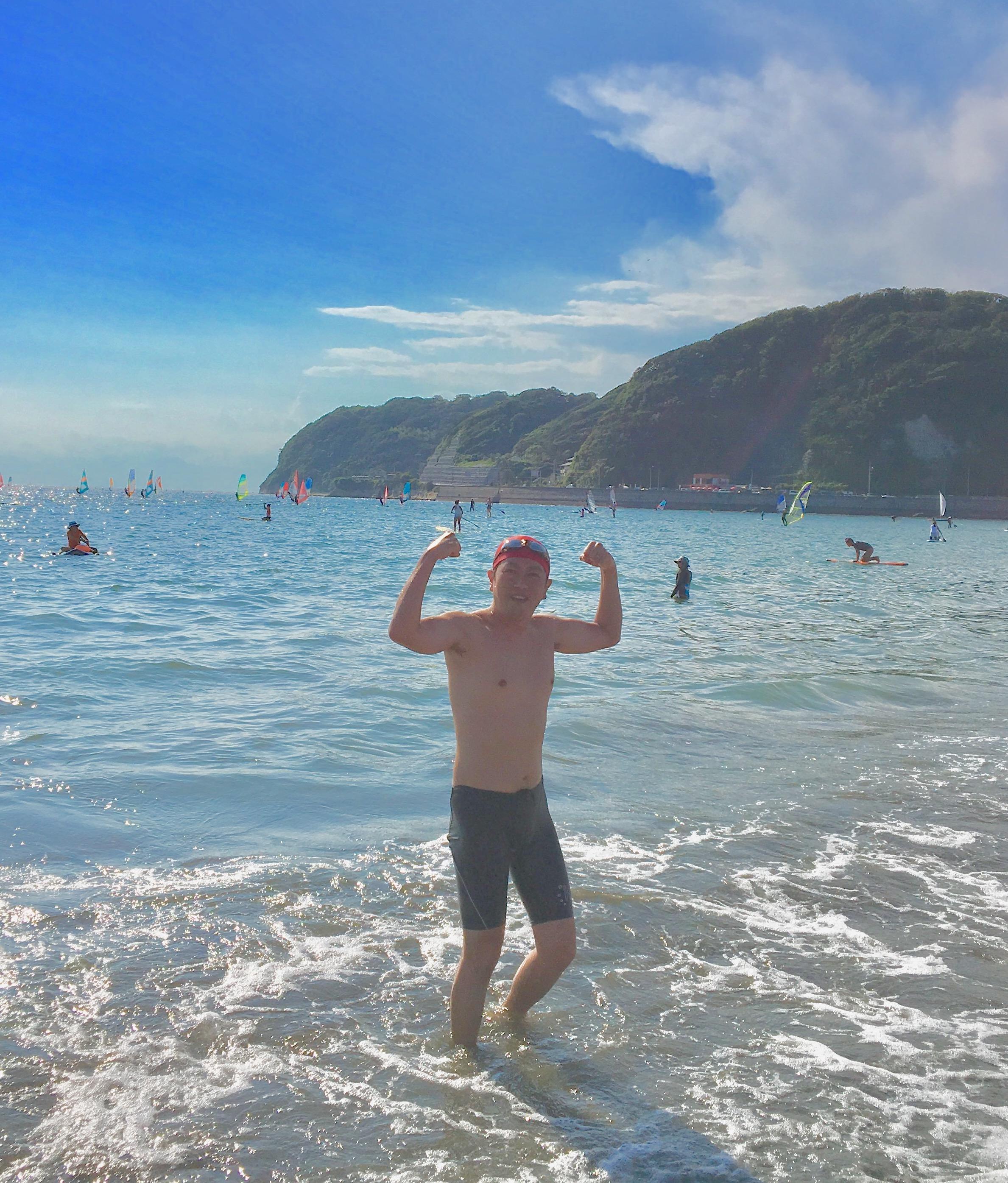 RUN伴+三浦半島・遠泳チームの応援で逗子海岸へ