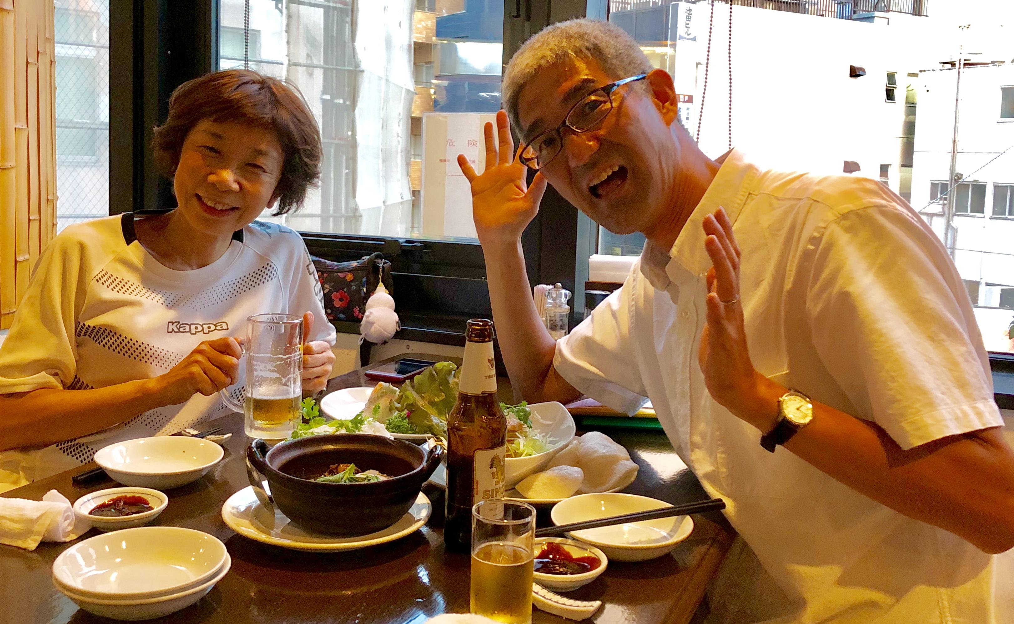 大学院春学期の授業を終えて、小野田美都江さんとハッピーアワー
