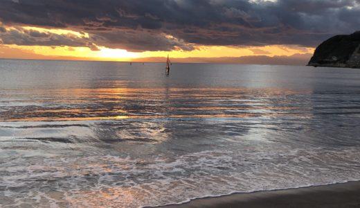 逗子海岸の夕焼けをみにランニング