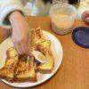 朝食にフレンチトーストを作りました。