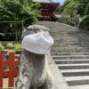 八幡さまの狛犬はマスクをしていました。